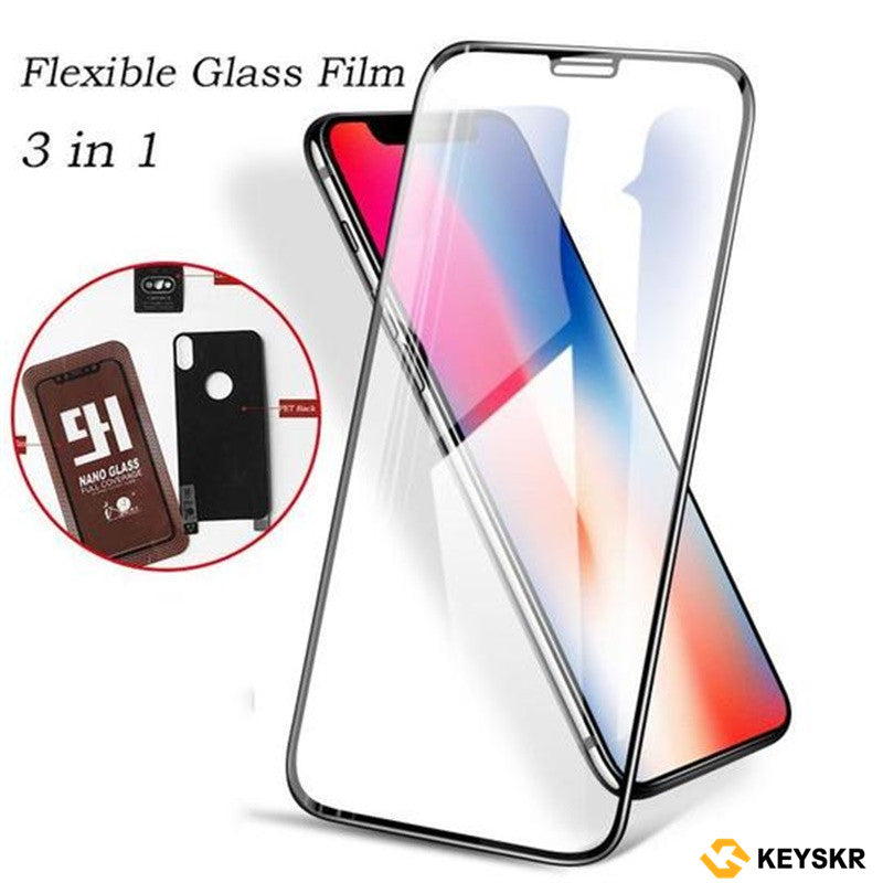 Free Gift Nano Tempered Glass + PET back film + Explosion-proof Lens Stickers iPhone HD Full Screen Nano Tempered Glass 6D Transparent Protective Film for iPhone X / XS / XS Max / XR / 8/7/6 / 6s Screen Protection