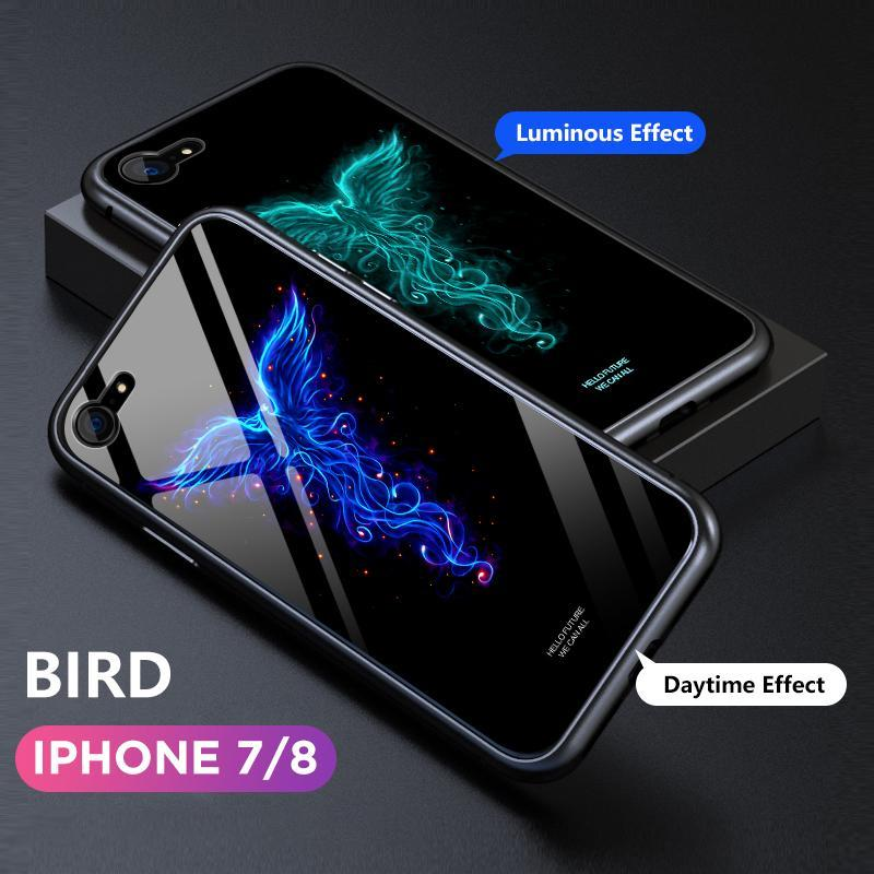 Luminous Glass Magnetic Case Luxury Metal Tempered Glass Cover Case or iPhone 7/8/7p/8p