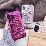 For iphone 6 6S X 7 8 plus Electroplate lips Dynamic Liquid Quicksand Phone Case For iphone 7 plus Case for iphone 8 Back Cases