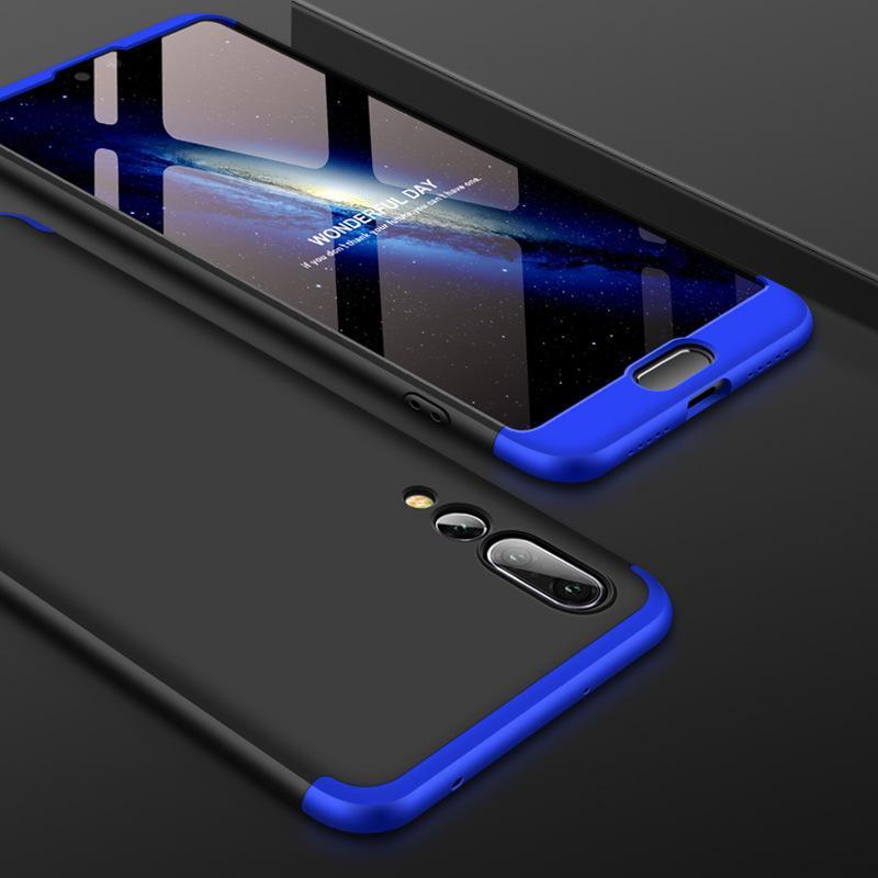3 in 1 HUAWEI P20 Pro Double Dip 360° Degree Full Protection Hard PC Matte Coque Cover With Tempered Glass Film