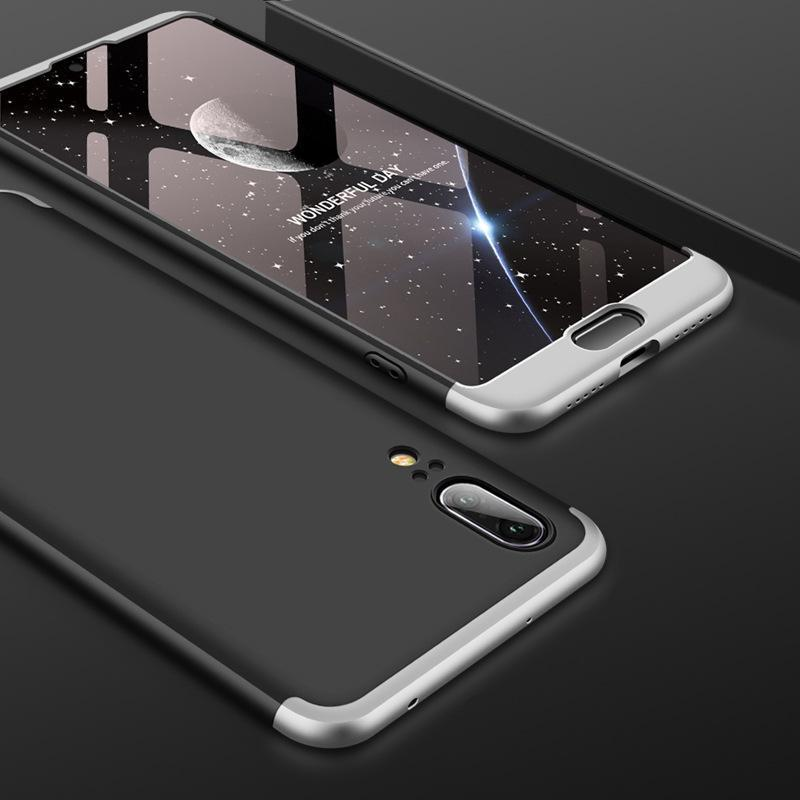 3 in 1 HUAWEI P20 Double Dip 360° Degree Full Protection Hard PC Matte Coque Cover With Tempered Glass Film