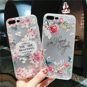 Fashion 3D Relief Flower Phone Case For iPhone 6 6S 7 8 Plus X XR XS Max