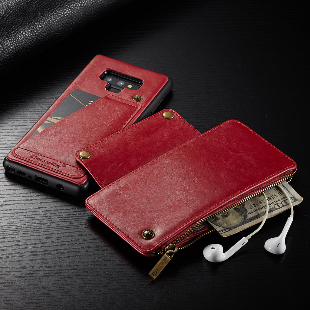 Leather Wallet Case For Samsung Note9 Wallet Zipper Card Holder Leather Flip Back Case For Samsung Note9 Detachable Phone Case