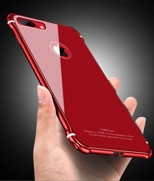 Apple iPhone X 8 8 Plus Case Luxury Hard Metal Aluminum Slim Protective Bumper Glass Back Cover for iPhone 7 7 Plus 6s 6plus