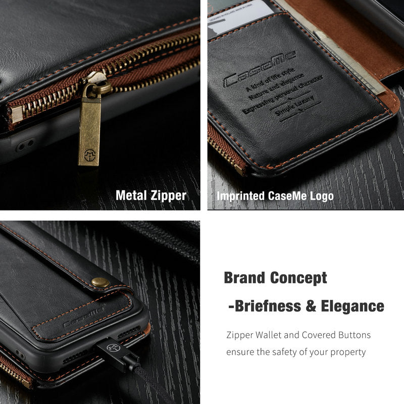 the best attitude b8823 43c80 CaseMe Wallet Case For iPhone XR XS Max Samsung Note9 Wallet Zipper Card  Holder Leather Flip Back Case For iPhone XS Max Detachable Phone Case