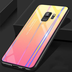 for Samsung S9 Case S9 Plus  Discolor 9H Tempered Glass Aurora Gradient Color Shockproof Case
