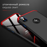 3 in 1 iPhone XS/XS Max iPhone XR Double Dip 360° Degree Full Protection Hard PC Matte Coque Cover With Tempered Glass Film