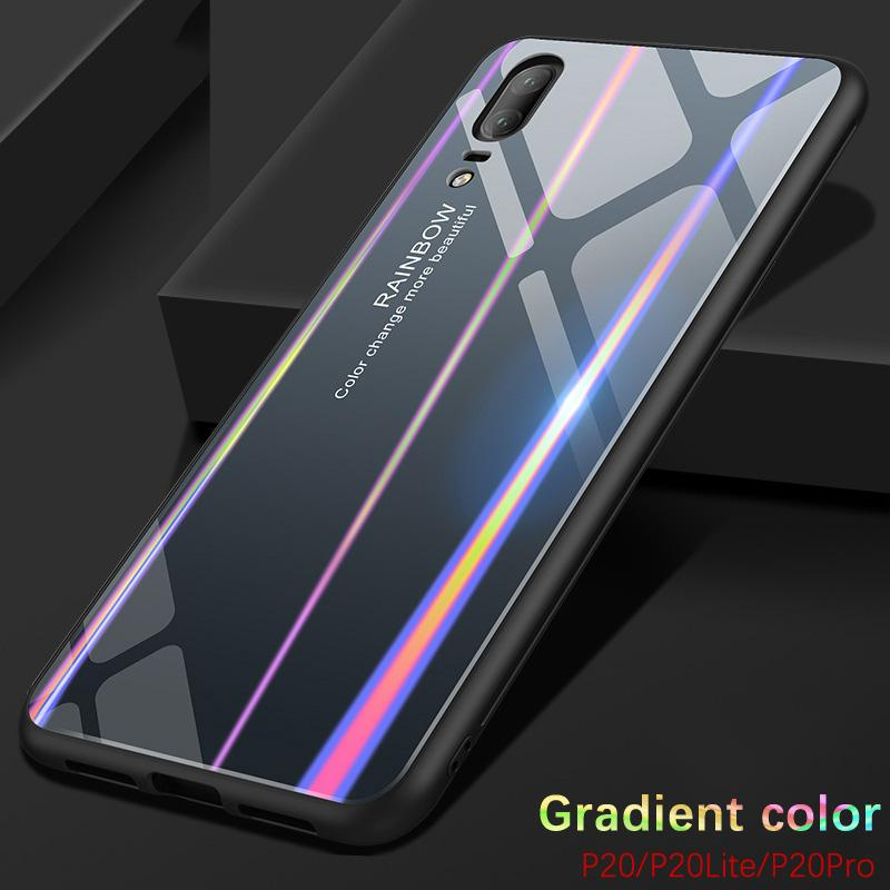 Gradient Color Tempered Glass Case For Huawei P20 Lite Pro Bumper 9H Bling Rainbow Case Silicone Huawei P 20 360 Full Back Cover
