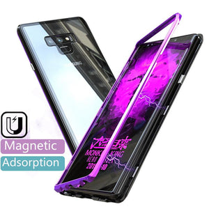 Magnetic adsorption transparent tempered glass phone case For Coque samsung galaxy Note 9