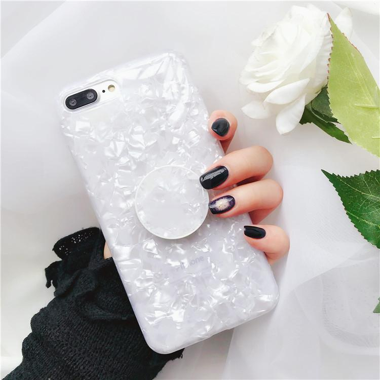 Round Marble Shell Mobile Phone Case with Ring Holders For iPhone 6 6S 7 8 Plus X XR XS MAX
