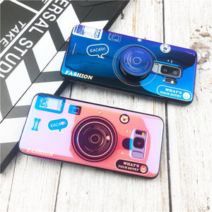 Retro camera cute cartoon soft phone case for samsung galaxy note9 case note8 S9 plus s8 plus s7 s7edge cover lanyard Messenger
