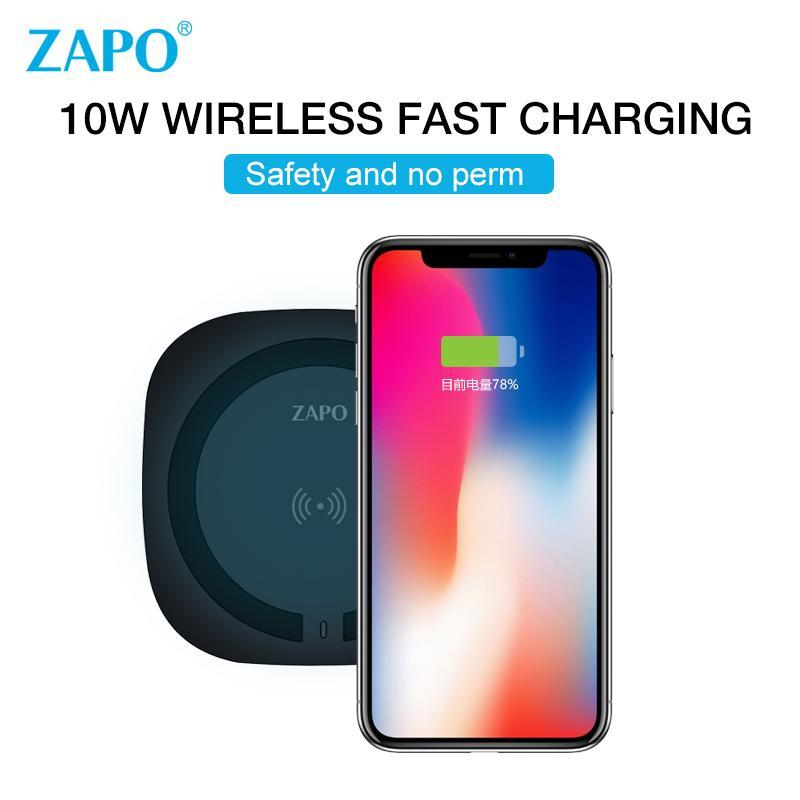 Zapo QI 10W Fast Charging Wireless Charger for iPhone Xiaomi Samsung-Chargers & Cables-Black-hykis.com