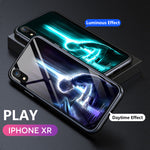 Luminous Glass Magnetic Case Luxury Metal Tempered Glass Cover Case or iPhone X/XR/XS/XS Max-P