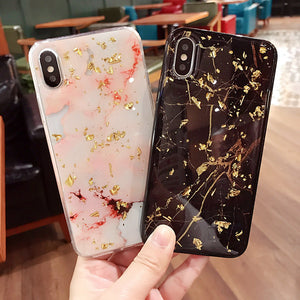 Luxury Gold Foil Glitter Bling Marble Stone TPU Phone Cases For iPhone X XR XS MAX 7 8 6 6S Plus