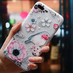3D Flowers Patterned Phone Case For iPhone X XS MAX XR Soft TPU Silicone Back Cover Cases