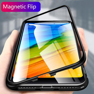 Magnetic Adsorption Flip Phone Case for Xiaomi Redmi Note5 Pro/Redmi Note6 Pro
