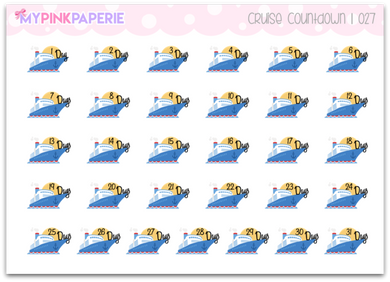 027 | Cruise Countdown Stickers - My Pink Paperie