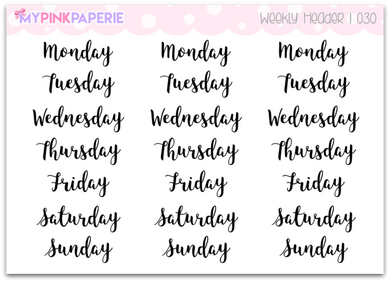 030 | Weekly Header Script Lettering - My Pink Paperie