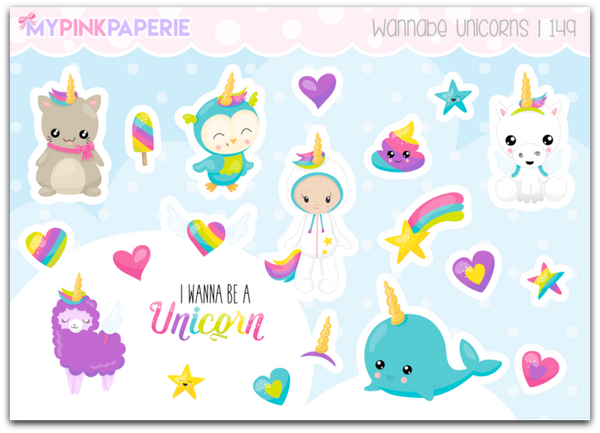 149 | Wannabe Unicorns Deco Stickers - My Pink Paperie