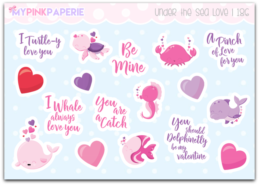 186 | Under the Seal Love Deco Stickers - My Pink Paperie