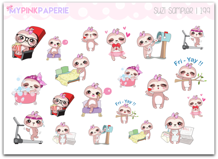 199 | Suzi Sampler | Cute Sloth Stickers