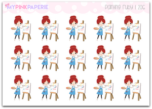 206 | Painting Girls | Cute Girl Stickers - My Pink Paperie