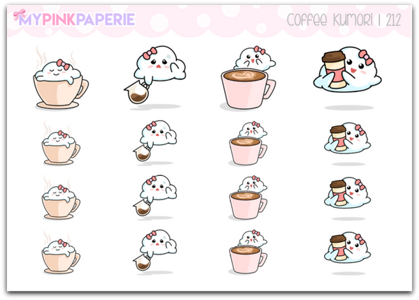 212 | Coffee Kumori | Original Hand Drawn Stickers - My Pink Paperie