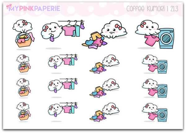 213 | Laundry Kumori | Original Hand Drawn Stickers - My Pink Paperie