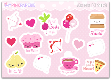 221 | Valentine Pairs | Deco Stickers - My Pink Paperie