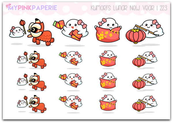 223 | Kumori's Lunar New Year | Original Hand Drawn Stickers - My Pink Paperie