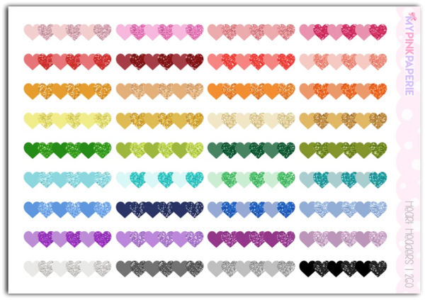260 | Heart Glitter Header Stickers - My Pink Paperie
