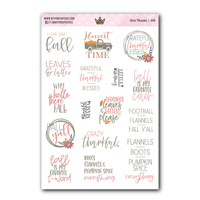 TD02 | Give Thanks | Text Deco Stickers - My Pink Paperie