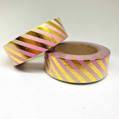 Pink Gradient Striped Gold Foiled Washi Tape Roll