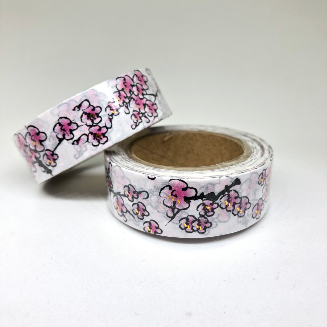 Cherry Blossoms Foiled Washi Tape Roll - My Pink Paperie
