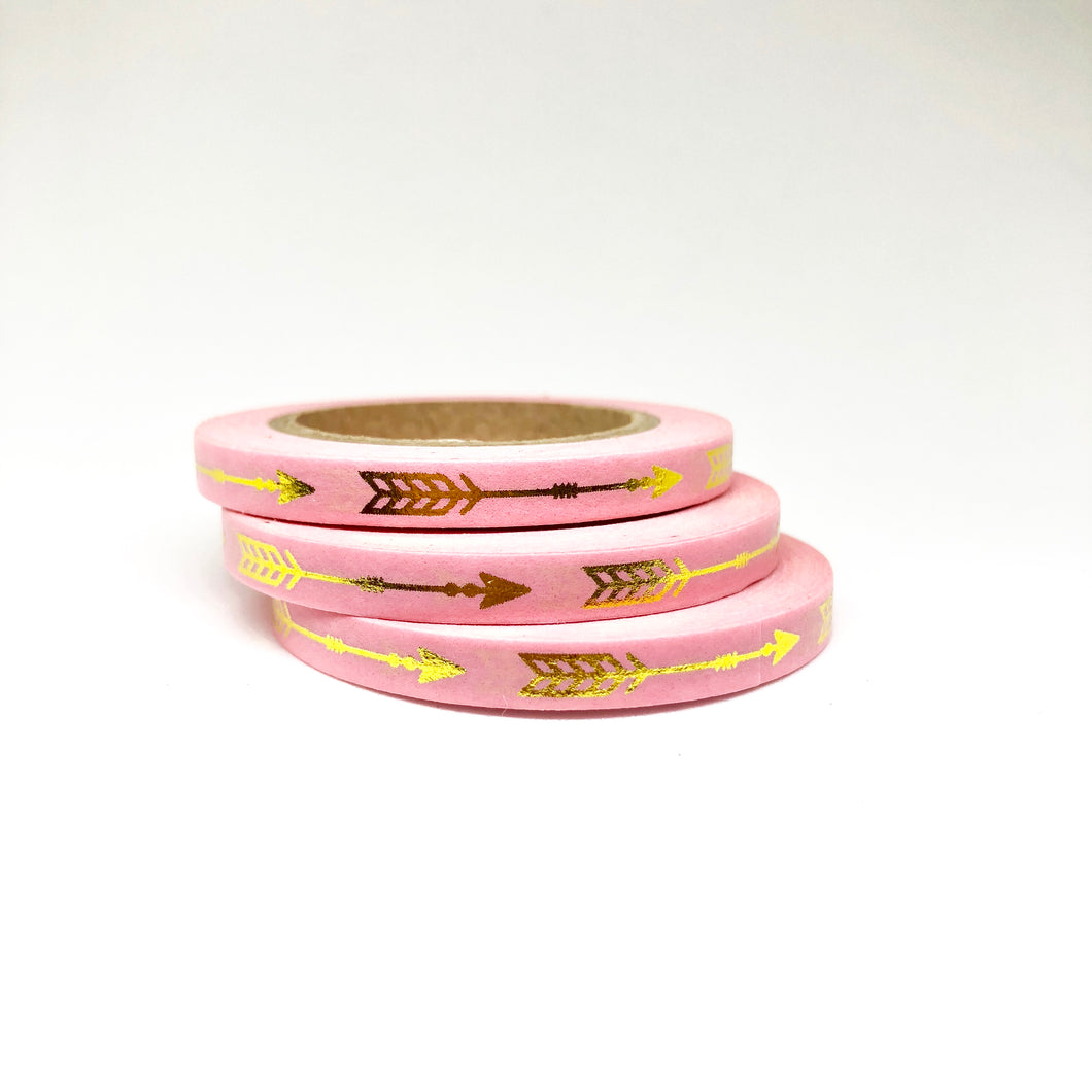 Pink Arrow Gold Foiled Thin Washi Tape Roll - My Pink Paperie