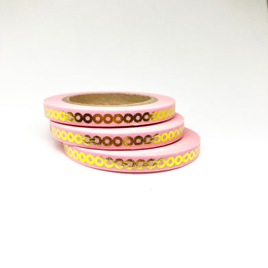 Pink Chain Gold Foiled Thin Washi Tape Roll