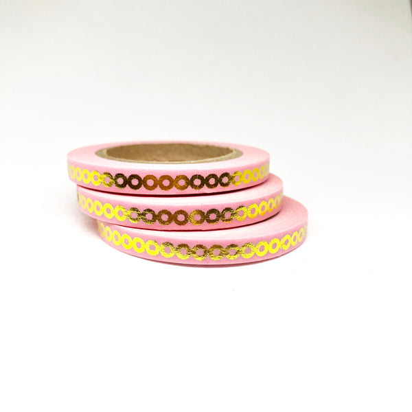 Pink Chain Gold Foiled Thin Washi Tape Roll - My Pink Paperie