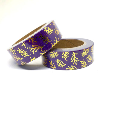 Purple & Gold Foiled Leaves Washi Tape Roll