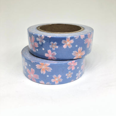 Periwinkle & Pink Floral Washi Tape Roll