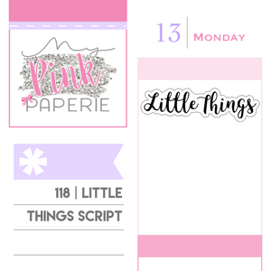 "118 | ""Little Things"" Script Stickers - My Pink Paperie"