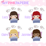 129 | Sleepy Girls | Cute Girl Stickers - My Pink Paperie