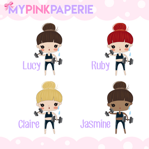 135 | Workout Girls | Cute Girl Stickers - My Pink Paperie