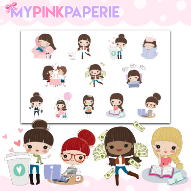 136 | Girls Activity Samplers 1 | Cute Girl Stickers