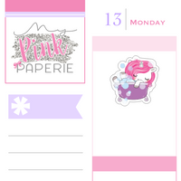 179 | Bath Time Yuki | Cute Unicorn Stickers - My Pink Paperie