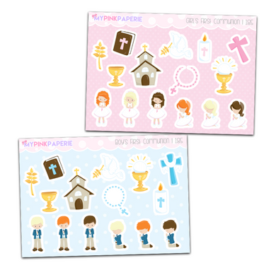 185 | Boys & Girls First Communion Deco Stickers - My Pink Paperie