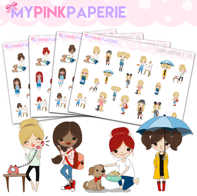 211 | Girls Activity Sampler 2 | Cute Girl Stickers
