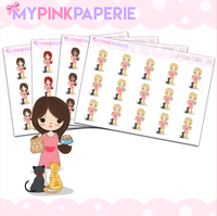 204 | Cat Ladies Girls | Cute Girl Stickers - My Pink Paperie