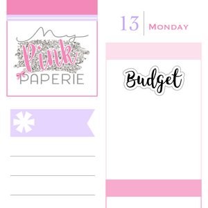 "235 | ""Budget"" Script Lettering Stickers - My Pink Paperie"