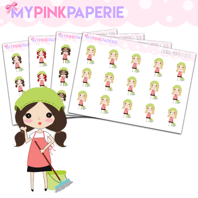 269 | Girls Mops | Cute Girl Stickers