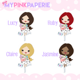272 | Girls Happy Mail | Cute Girl Stickers - My Pink Paperie